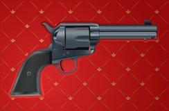 Vector illustratie van een kanon op rode achtergrond Stock Afbeelding