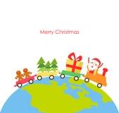 Vector illustratie van een Kerstmistrein Royalty-vrije Stock Afbeelding