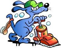 Vector illustratie van een Reinigingsmachine van het Tapijt van de Hond Stock Afbeeldingen
