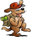 Vector illustratie van een Reizende Hond Royalty-vrije Stock Foto