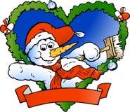 Vector illustratie van een Welkom hetende Sneeuwman Royalty-vrije Stock Foto