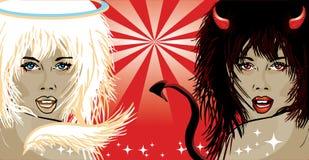 Vector illustratie van engel en duivel Royalty-vrije Stock Fotografie