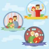 Vector illustratie van Gelukkige Familie Stock Foto's