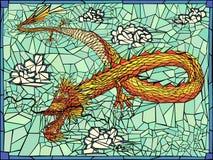 Vector illustratie van gouden draak. Stock Foto