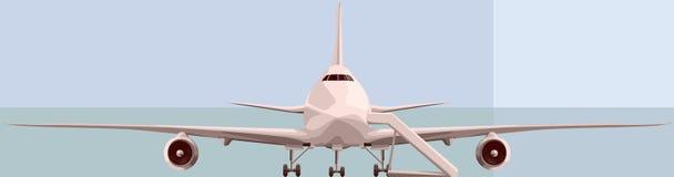Vector illustratie van grote airplan vooraan. Royalty-vrije Stock Afbeeldingen
