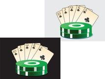 Beeld van speelkaarten en spaanderscasino. Royalty-vrije Stock Afbeeldingen