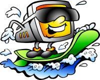 Vector illustratie van het het Surfen Retro Scherm Royalty-vrije Stock Fotografie