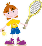 Het meisje van het badminton stock illustratie