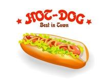 Vector illustratie van hotdog Stock Afbeelding