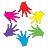 Vector kleurrijke handen Stock Foto