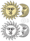 Vector illustratie van Maan en Zon royalty-vrije illustratie