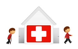 Vector illustratie van medisch huis met patiënt Stock Afbeelding