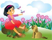 Vector illustratie van meisje en een hond Stock Afbeelding