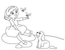 Vector illustratie van meisje en een hond Stock Foto
