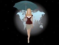 Vector illustratie van meisje en paraplu Stock Foto's