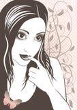 Vector illustratie van meisjesgezicht Royalty-vrije Stock Afbeelding