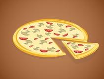 Vector illustratie van pizza Stock Fotografie