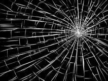Radiale barsten op gebroken glas. Stock Afbeeldingen
