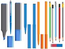 Vector illustratie van reeks verschillende pennen Stock Foto's