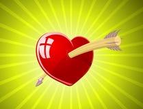 Vector illustratie van rood hart met pijl Royalty-vrije Stock Afbeelding