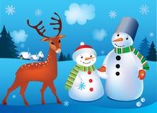 Vector illustratie van sneeuwmannen Stock Afbeelding