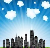 Vector illustratie van stedensilhouet. EPS 10. Stock Afbeelding