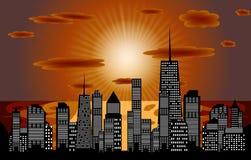 Vector illustratie van stedensilhouet. EPS 10. Royalty-vrije Stock Foto's