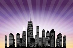 Vector illustratie van stedensilhouet. EPS 10. Stock Foto's
