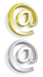 Vector illustratie van twee gouden en zilveren e-mail Royalty-vrije Stock Fotografie