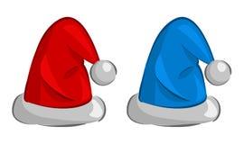 Vector illustratie van twee hoeden van de Kerstman Stock Foto