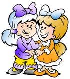 Vector illustratie van twee leuke meisjesvrienden Royalty-vrije Stock Foto's