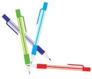 Vector illustratie van vastgestelde kleurrijke pennen Stock Afbeelding