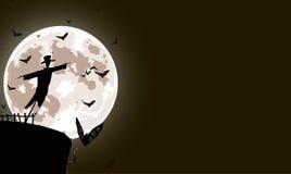 Vector illustratie van vogelverschrikker met volle maan Stock Foto's