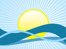 Vector illustratie van water en zon Stock Foto