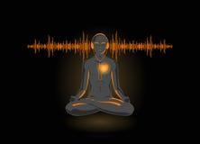 Vector illustratie van yoga die zijn hart luistert Stock Foto