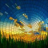 Vector illustratie van zonsondergang in gras. Stock Foto's