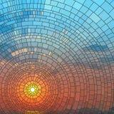Vector illustratie van zonsondergang in overzees. Stock Afbeelding