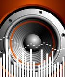 Vector illustratie voor muzikaal thema met spreker Royalty-vrije Stock Foto