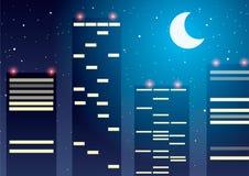 Vector illustratie Wolkenkrabbers tegen de sterren en de maan Stock Afbeelding