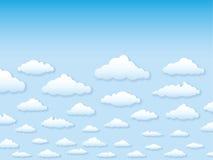Vector illustratiehemel met wolken in beeldverhaalvarkenskot Stock Foto's