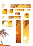 Vector illustratiezonsondergang en kokospalm Stock Foto's