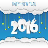 .Vector/illustratio. Happy new year 2016 cloud and sky background .Vector/illustration stock illustration