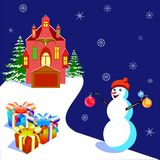 Vector illustratiob with a house and a snowman, for banners and card Royalty Free Stock Photos