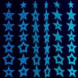 Garlands of three-dimensional light blue stars on dark background. Vector illustration stock illustration