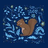 Vector Illustration, A Cute Squirrel On A Square Dark Blue Background With Light Blue And Yellow Flowers, Leaves Stock Images
