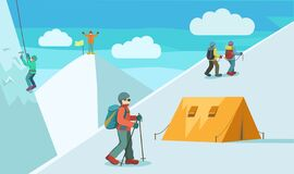 Free Vector Illustration About Mountain Climbing. Stock Image - 190996181