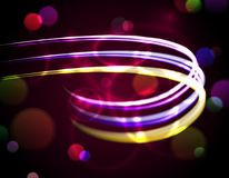 Abstract Background with Blurred Neon Lights Stock Photo