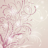 Vector illustration of abstract background with curved lines. And floral elements, stems, dots and lights Royalty Free Stock Images