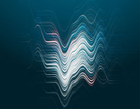 Vector illustration of abstract blue wave background. With horizontal futuristic blue lines, peaks and cavity, light and shadow effect, dynamic surface in Royalty Free Stock Image