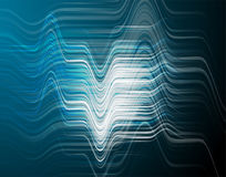 Vector illustration of abstract blue wave background. With horizontal futuristic blue lines, peaks and cavity, light and shadow effect, dynamic surface in Royalty Free Stock Photo